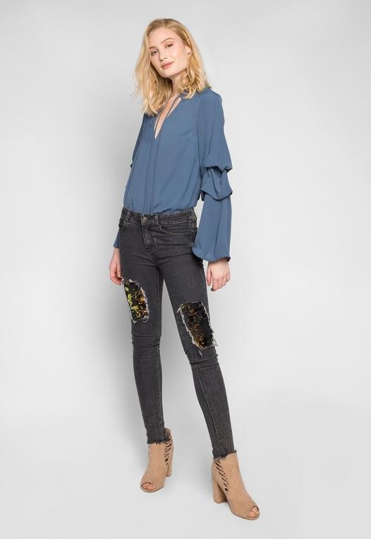 Bittersweet Sequin Insert Skinny Jeans in Black alternate img #4