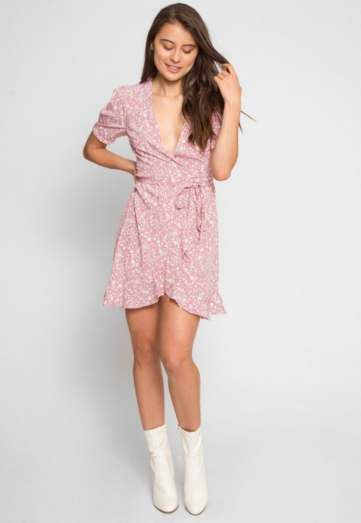 Petals Floral Wrap Dress in Pink alternate img #5