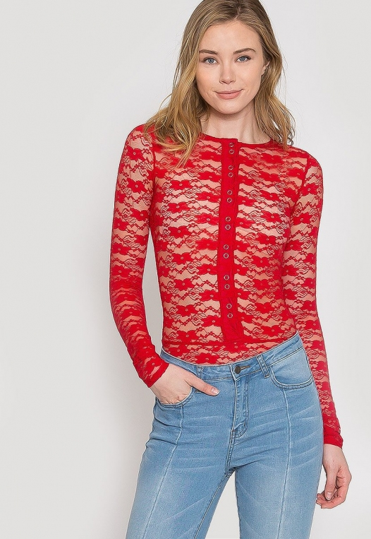 Davenport Lace Bodysuit in Red alternate img #5