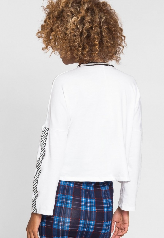 For You Checkboard Trim Knit Top in White alternate img #3