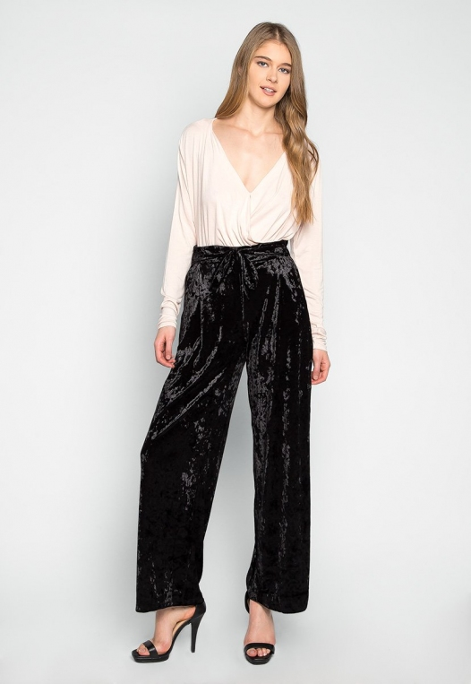 Stay Paper Waist Velvet Pants in Black alternate img #4