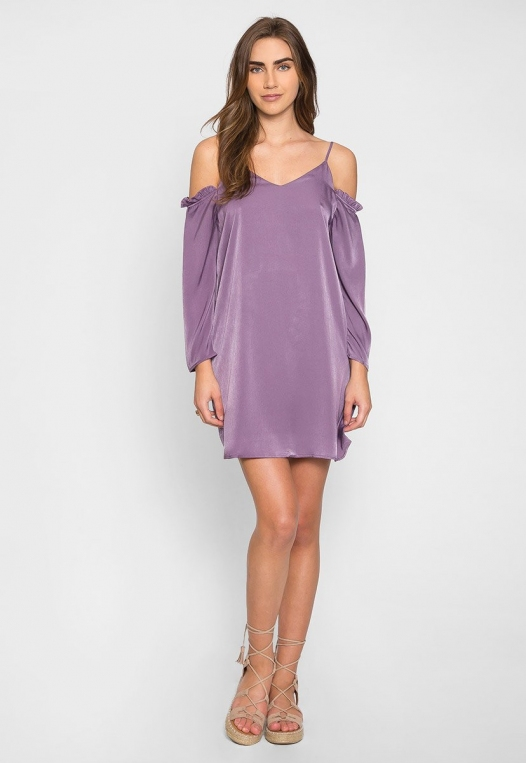 Aroma Cold Shoulder Satin Dress alternate img #4