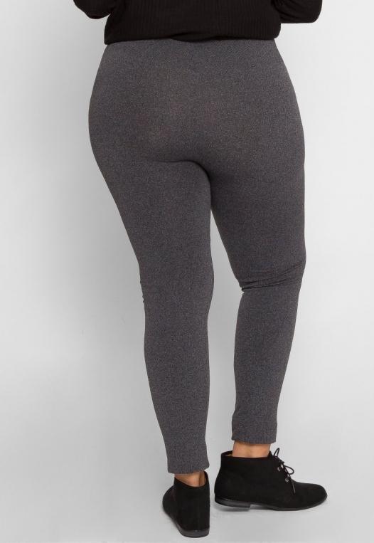 Plus Size High Waist Fleece Leggings in Charcoal alternate img #4