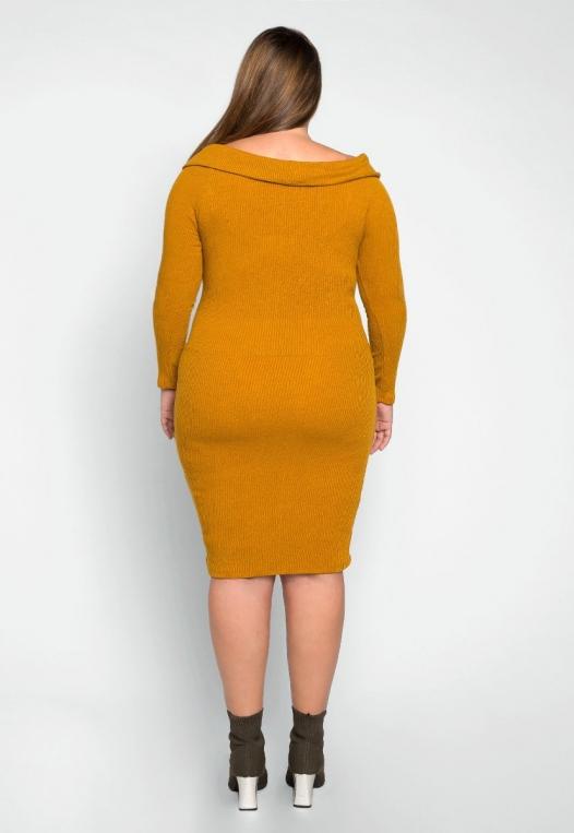 Plus Size Oblivion Shawl Lapel Knit Dress in Mustard alternate img #2