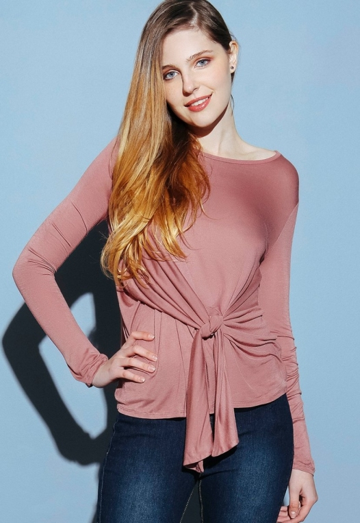 Monday Morning Jersey Knit Top in Mauve alternate img #1