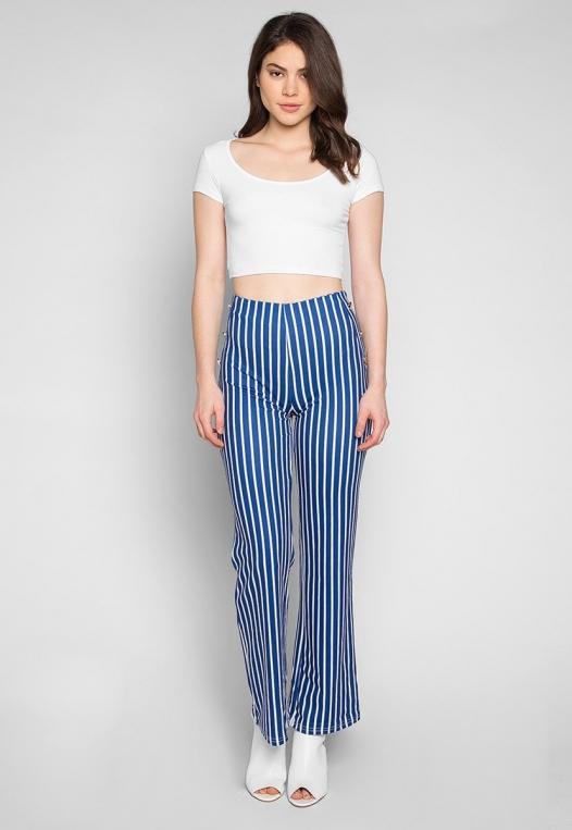 Flare Games Stripe High Waist Pants In Blue alternate img #4