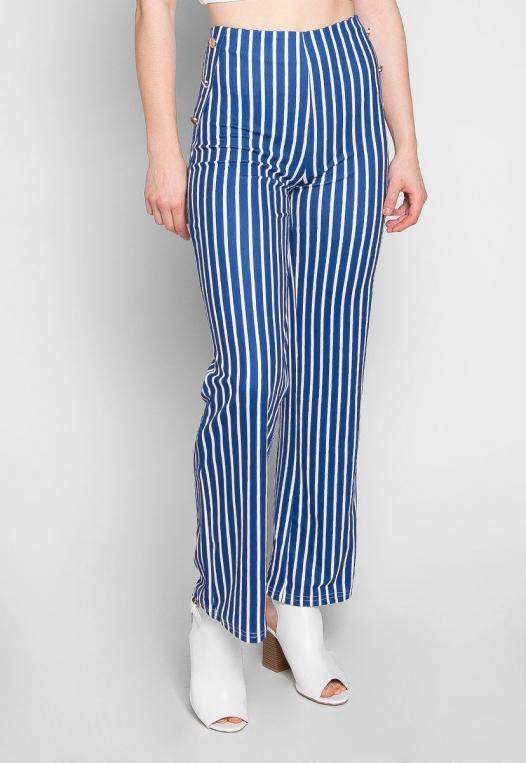 Flare Games Stripe High Waist Pants In Blue alternate img #3