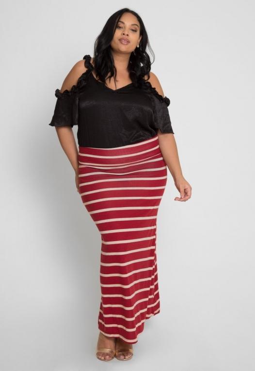 Plus Size Magical Night Stripe Maxi Skirt alternate img #4