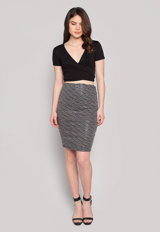 Ocean Waves Sequin Fitted Skirt in Black alternate img #4