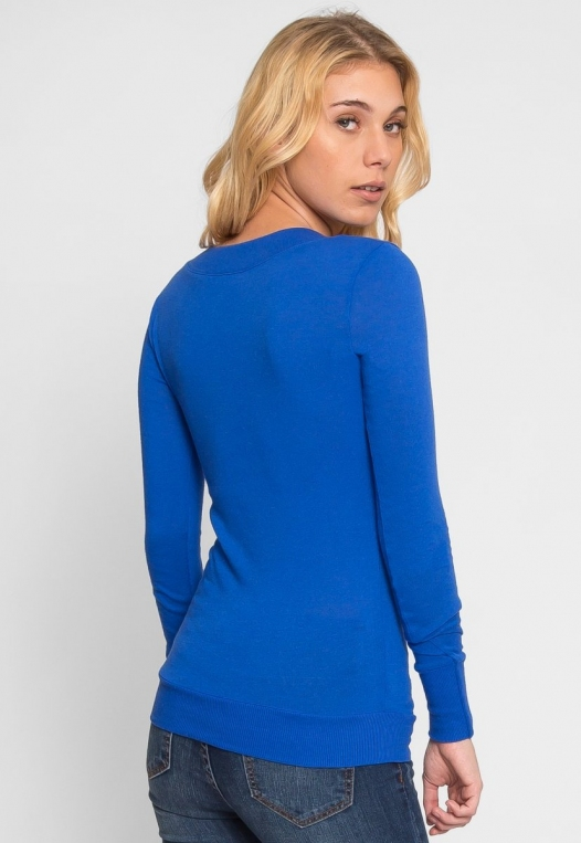 Perfect V Neck Sweater in Blue alternate img #3