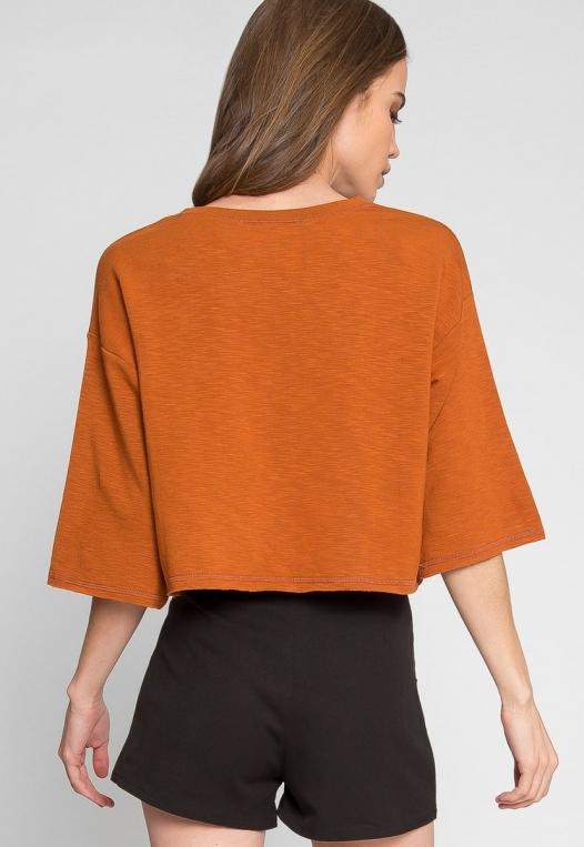 Zenith Crop Sweatshirt in Brown alternate img #3