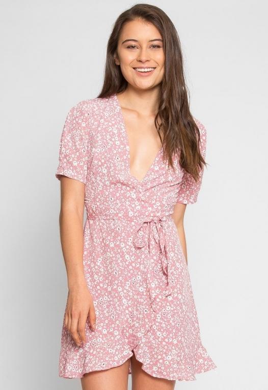 Petals Floral Wrap Dress in Pink alternate img #2
