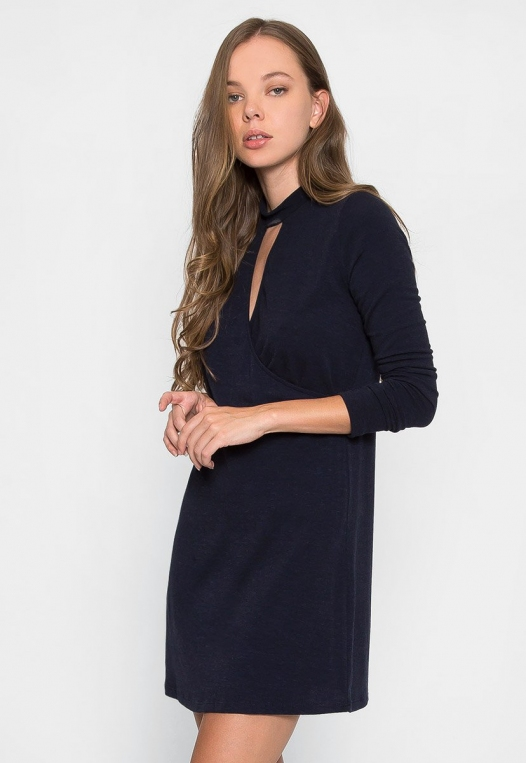 House Warming Surplice Dress in Navy alternate img #3