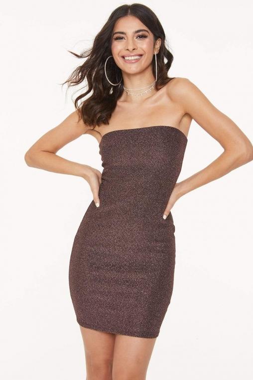 Strapless Glitter Bodycon Dress alternate img #1