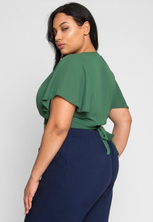 Plus Size Flutter Sleeve Top in Green alternate img #4