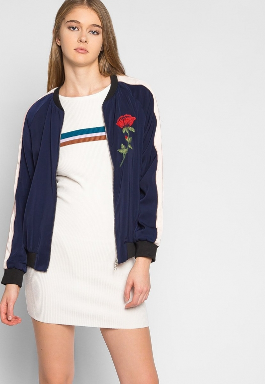 Night Feelings Floral Embroidered Bomber Jacket alternate img #5