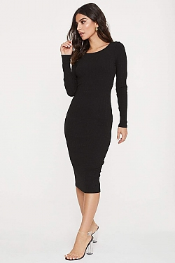 See Ribbed Long Sleeve Midi Dress in Black