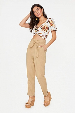 See High Waisted Tied Linen Pant in Khaki in Khaki