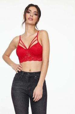See Strappy Front Lace Bralette in Dark Red