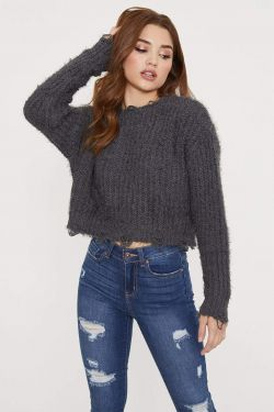 See Distressed Cable Knit Sweater in Charcoal