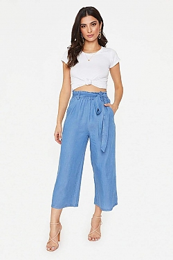 See Light Blue Relaxed Fit Cropped Pant in Blue