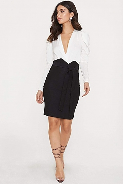 See High Waisted Front Tie Pencil Skirt in Black