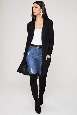 See Open Front Pocketed Long Sleeve Cardigan in Black