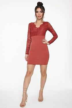 See Long Sleeve Lace Bodice Mini Dress in Marsala