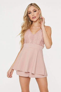 See Lace Bodice Skirt Overlay Romper in Mauve