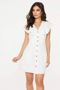 See Flutter Sleeve Button Up Dress in White