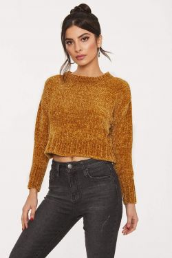 See Chenille Cropped Drop Shoulder Sweater in Mustard