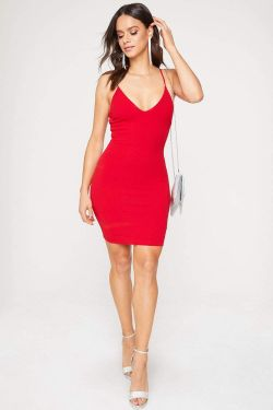 See Sparkle Strap Back Mini Dress in Red