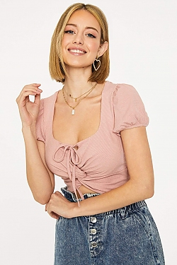 See Twist Front Self Tied Cropped Top in Dusty Pink in Pink