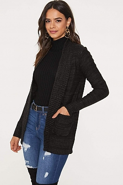 See Open Front Knit Cardigan in Black/Charcoal