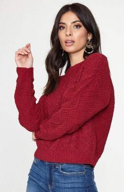 See Relaxed Super Soft Knit Sweater in Wine
