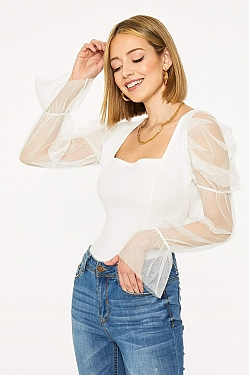 See Sheer Puff Sleeved Top in Black in Off White