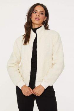 See Faux Fur Zip Up Jacket in Ivory