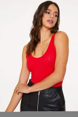 See Basic Tank Style Bodysuit in Red