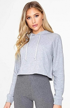 See Basic Cropped Hoodie in Heather Grey