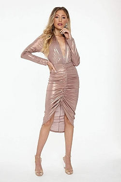 See Long Sleeve Plunging Neck Ruched Front High Low Dress in Mauve