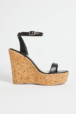 See Cork Platform Wedge In Black in Black