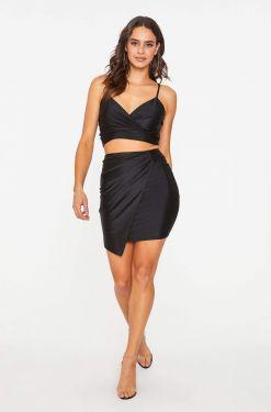 See Asymmetrical Pleated Overlay Skirt in Black