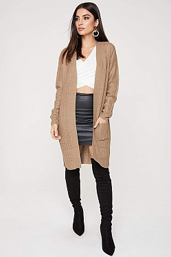 See Open Front Pocketed Long Sleeve Cardigan in Khaki