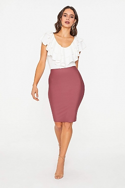 See Bodycon Pencil Skirt in Light Berry
