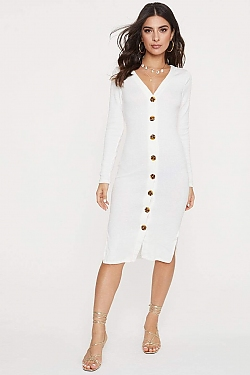 See Long Sleeve Button Down Ribbed Midi Dress in Soft White