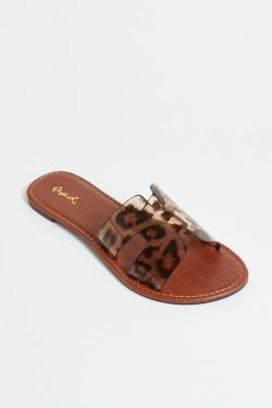 See Black Croco Two Strap Mule Slide in Leopard