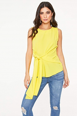 See Tie Front Sleeveless Blouse In Off White in Yellow