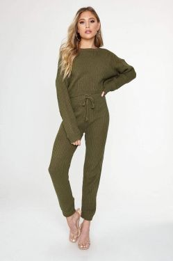 See Cozy Knit Cropped Pull-Over Sweater and Pant Set in Olive