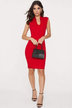 See Sleeveless Princess Seam Bodycon Dress in Red