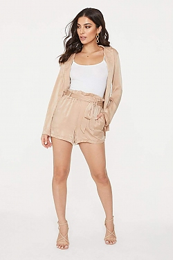 See Tied Waist Paper Bag Shorts in Khaki in Taupe